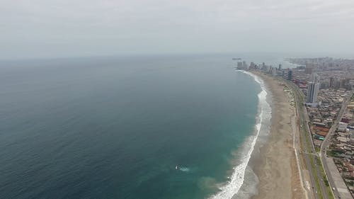 Drone Footage Of Coastline On A Daytime