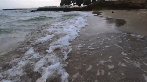 Waves Crashing on Seashore