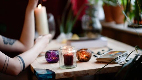 Candles and Cards on a Desk