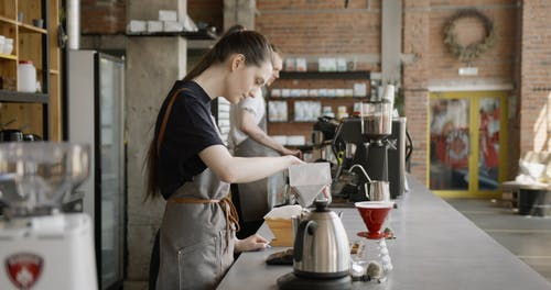 Baristas Working In A Coffee Shop