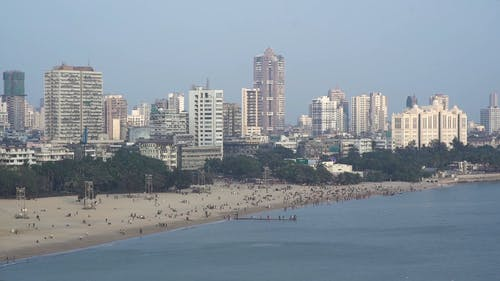 A Crowded Beach In The City
