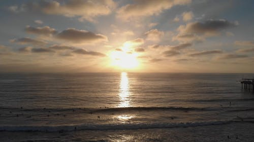 Enjoying The Beach At Sunset