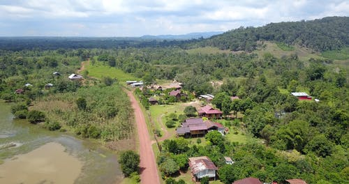Drone Footage Of Houses On A Village