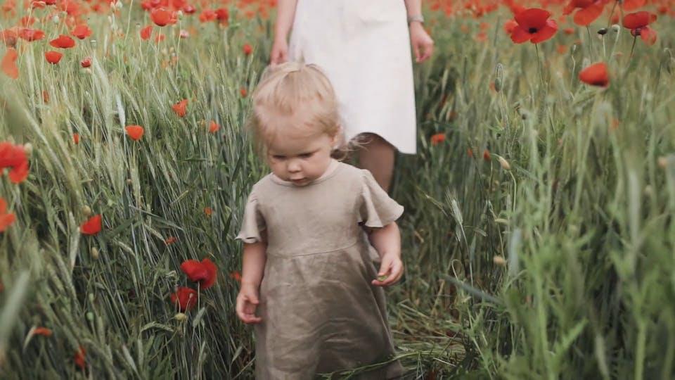 Girl Walking Between Red Poppy Flowers