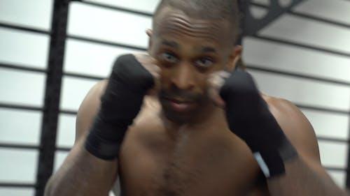 Shirtless Man Doing Shadow Boxing