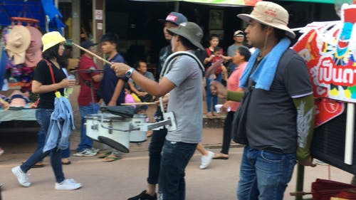 Musicians Joining The Festivities In The Street In Thailand