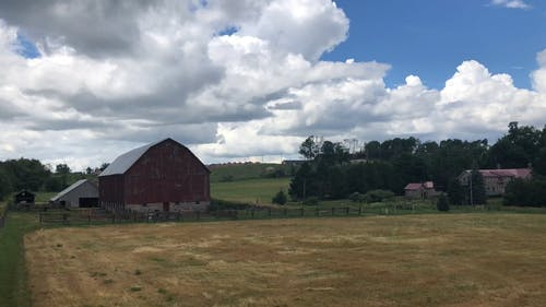 Time Lapse on a Moving Clouds at the Farm