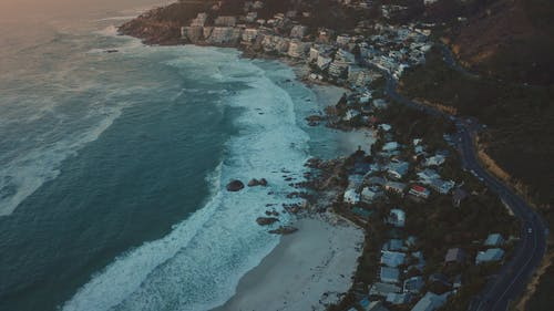 Drone Footage of Coastal Landscape During Sunset