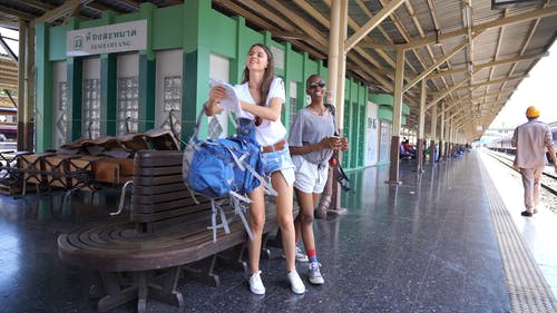 Two Women Walking on Railway Platform
