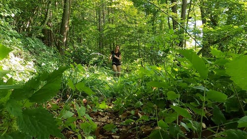A Woman Running in A Forest Trail