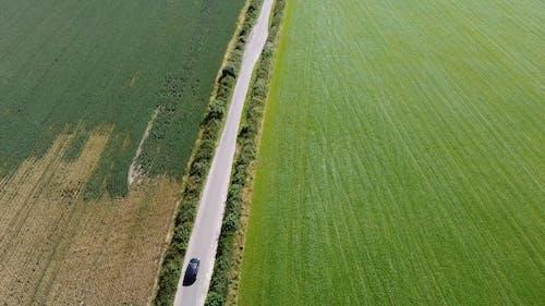 A Car Crossing A Road Built Across The Farm Land