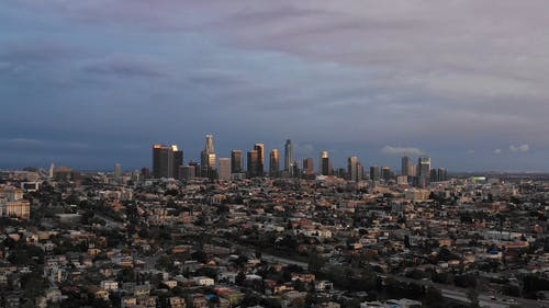 Drone Footage Of A City Skyline
