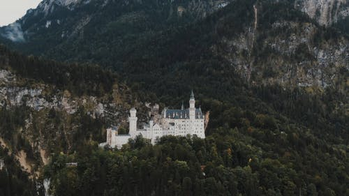 Drone Footage of a Castle on the Top of the Mountain