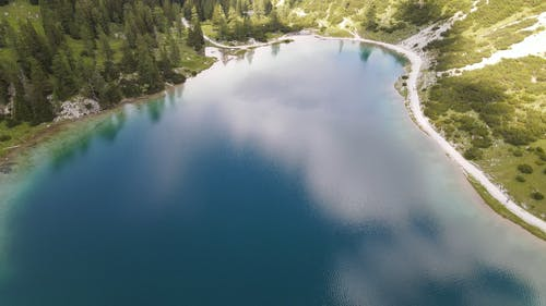 Drone Footage of a Lake Across the Mountains