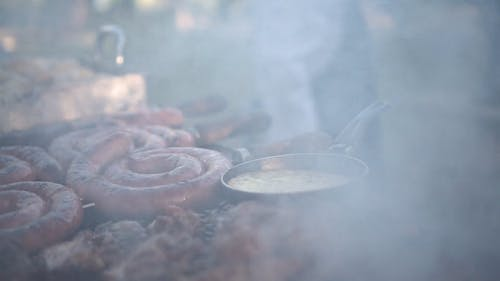 Close-up View Of Food Being Grilled