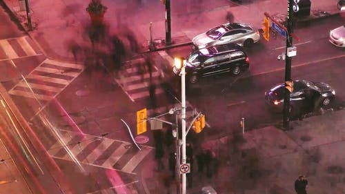 A Busy Intersection In A Time Lapse Video