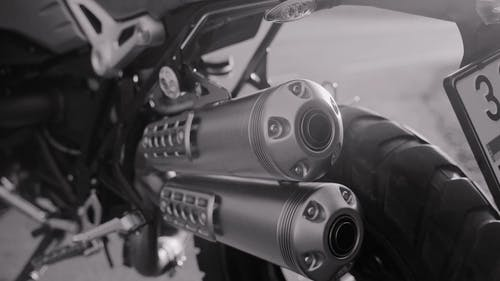 Close-up View Of Exhaust Pipes Of A Motorbike