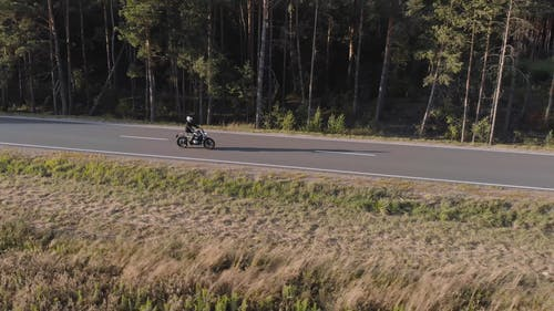 Drone Video of Motorbike Cruising