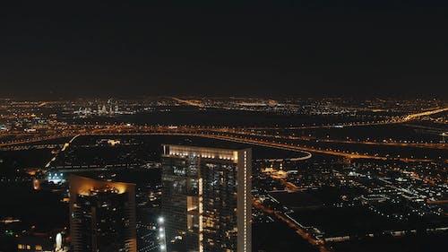 Long Shot Video of City and Traffic at Night