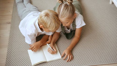 Brother and Sister Doing Homework