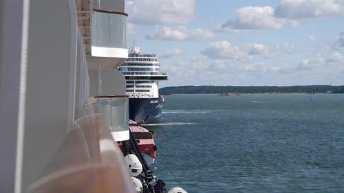 Video Compilation of a Cruise Ship in Ocean