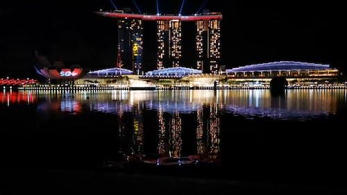 Lights Display On The Marina Bay Sands At Night