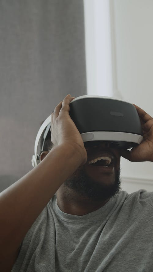 Man Experiencing the VR Glasses