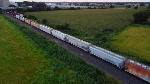 Drone Footage of Moving Cargo Train