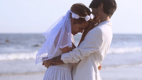 Newlywed Couple at the Shore