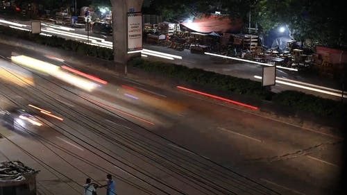 Time Lapse Video Footage Of Vehicles In The Road At Night