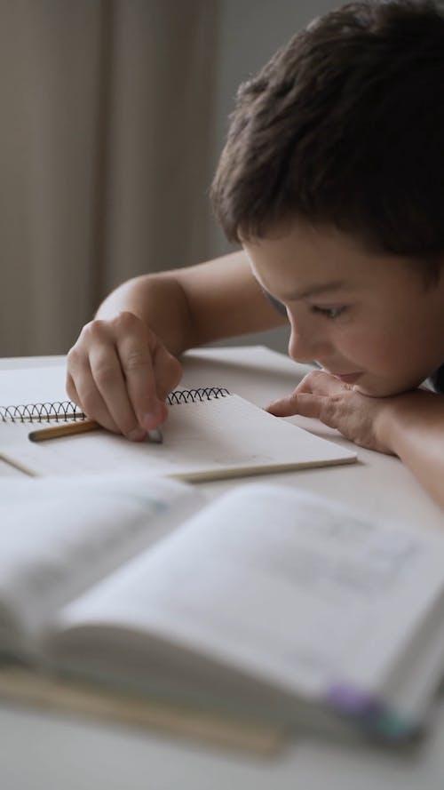 A Boy Erasing Errors On His Notes Using An Eraser