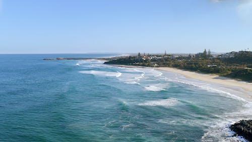 Drone Footage of Beach Under Blue Sky