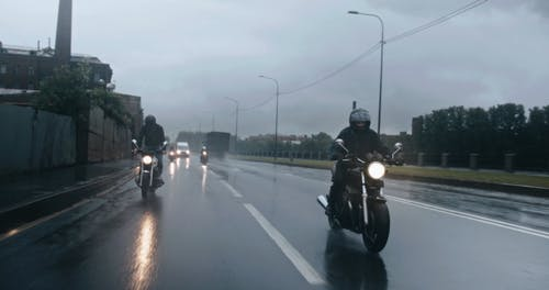 Motorcycle Riding On A Rainy Day