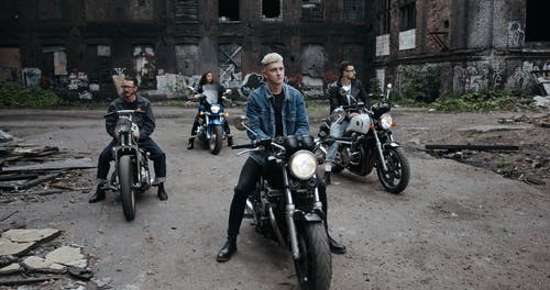 Bikers Assemble In An Abandoned Property