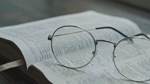 Close-Up View of Eyeglasses on an Open Bible