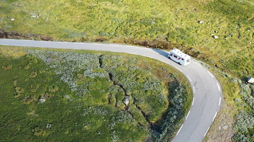 Driving A Recreational Vehicle On A Mountain Road