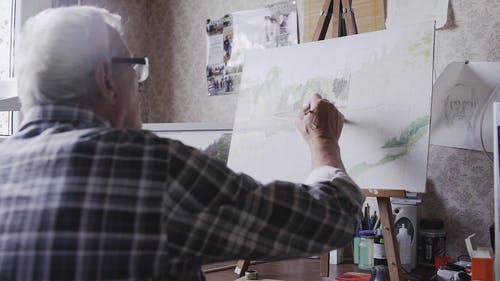 An Old Aged Artist with his canvas