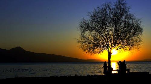 People Enjoying Beautiful Sunset at the Lakeside