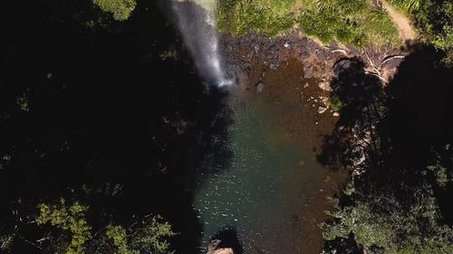 Natural Waterfall Captured with Drone Camera