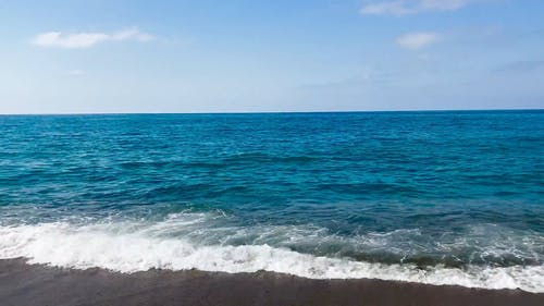 View of Blue Ocean Waves coming to the Shore