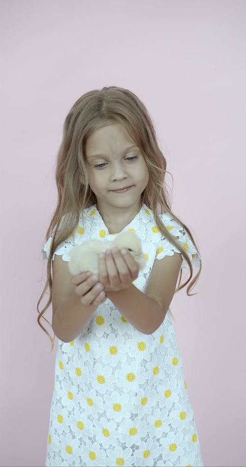 Happy Cute Girl Holds a Chicken in her Hands