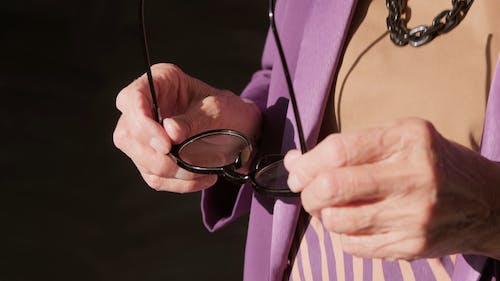 Elderly Woman Wearing Her Eyeglasses
