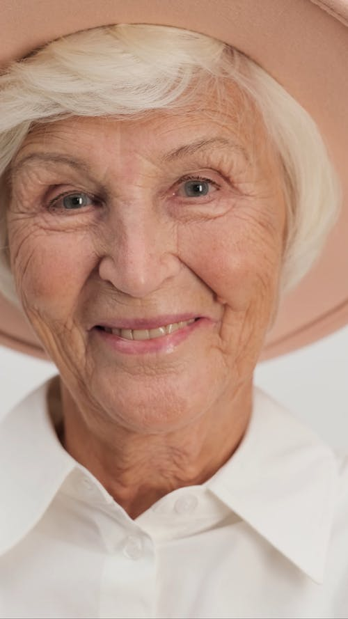 Close up of Stylish Wrinkled Woman Laughing
