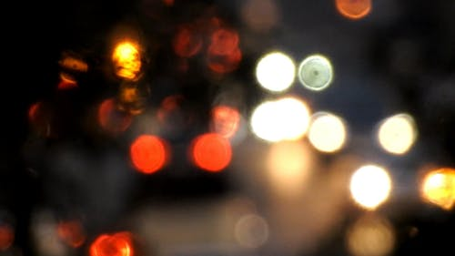 Blurred Bokeh Effect Traffic on the Road at Night