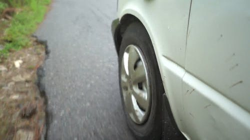 View of Automobile Wheel Travelling Fast