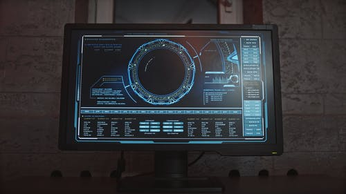Computer Monitor with Hacking Program