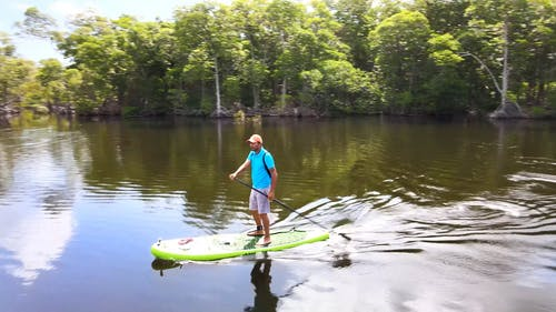 Man Standing on a Paddle Board