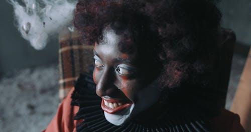 Creepy Clown Laughing and Looking at Camera
