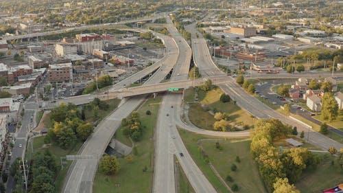 Aerial View of Highway Traffic
