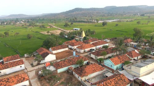 Drone Footage of Village and Farmlands